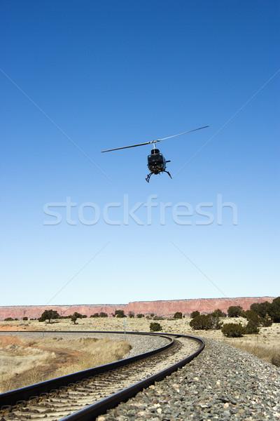 Helicóptero tiro vuelo tren Foto stock © iofoto