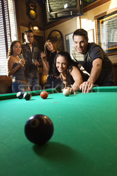 Group playing billiards. Stock photo © iofoto