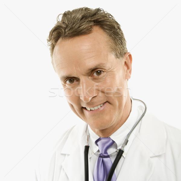 врач улыбаясь портрет кавказский мужской доктор стетоскоп Сток-фото © iofoto