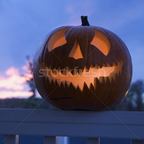 Glowing jack-o'-lantern. Stock photo © iofoto