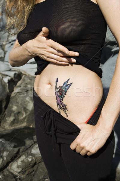 Vrouw tattoo kaukasisch fairy maag vrouwen Stockfoto © iofoto