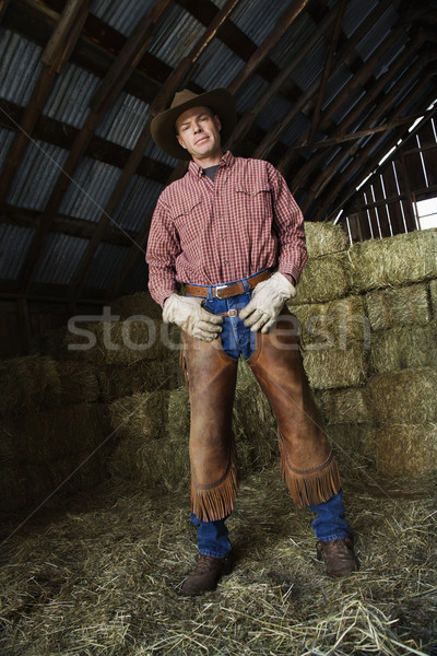 Man in a Barn Wearing a Cowboy Hat Stock photo © iofoto