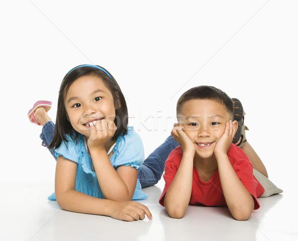 Foto d'archivio: Fratello · sorella · giovani · asian · piano · testa