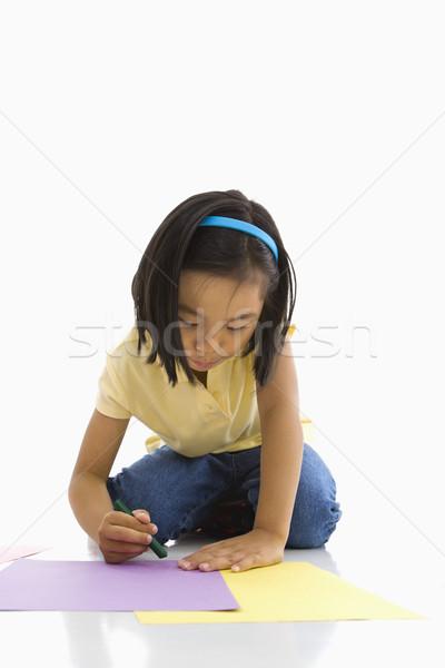 少女 アジア 座って 階 楽しい 肖像 ストックフォト © iofoto