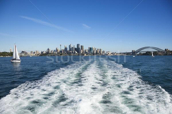 Foto stock: Linha · do · horizonte · Sydney · Austrália · ver · água · barcos
