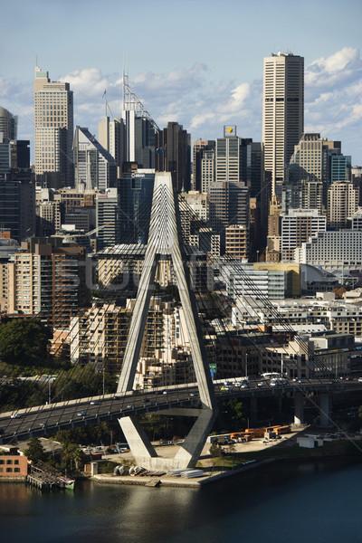 Sydney Australië luchtfoto brug gebouwen water Stockfoto © iofoto
