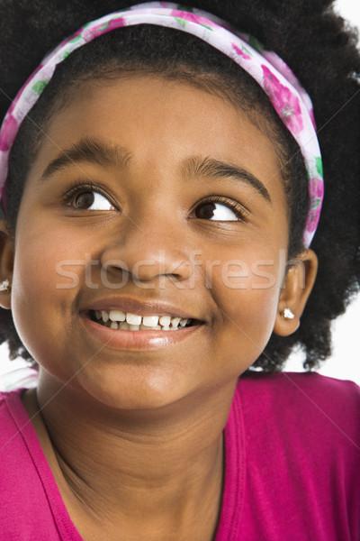Boldog lány afroamerikai lány visel néz gyermek Stock fotó © iofoto