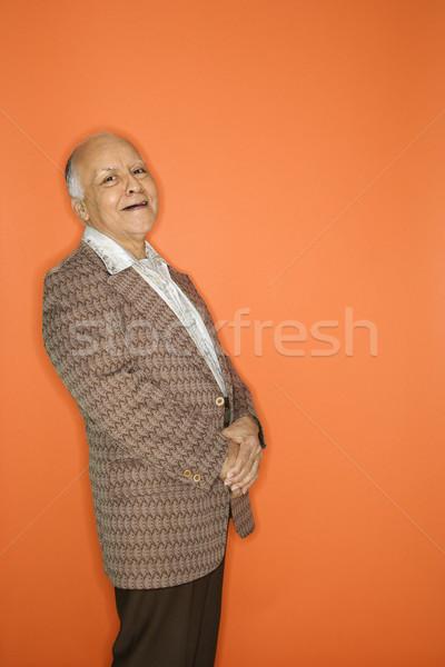 Férfi retro öltöny kaukázusi felnőtt érett Stock fotó © iofoto