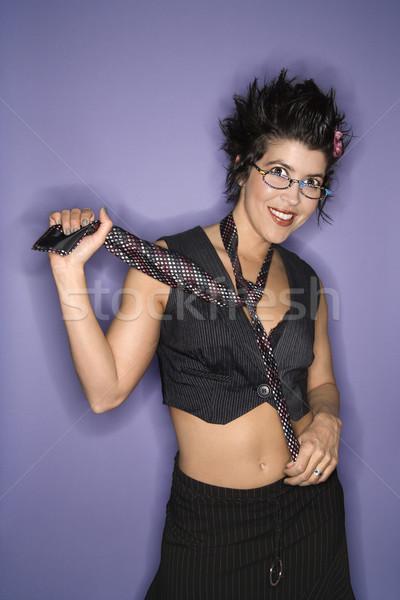Portré mosolygó nő mosolyog spanyol nő visel Stock fotó © iofoto