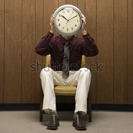 Człowiek retro biuro biznesmen fedora Zdjęcia stock © iofoto
