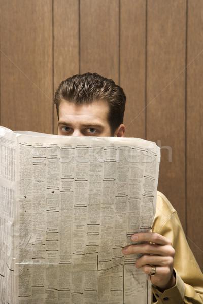 бизнесмен чтение газета ретро Top бизнеса Сток-фото © iofoto