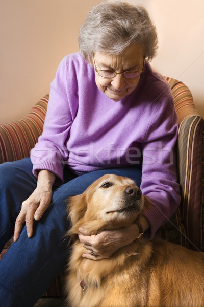 Mature woman petting dog.  Stock photo © iofoto