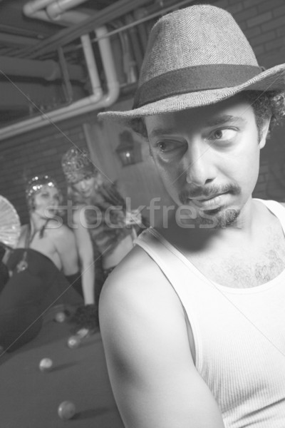 Man dressed like retro gangster. Stock photo © iofoto