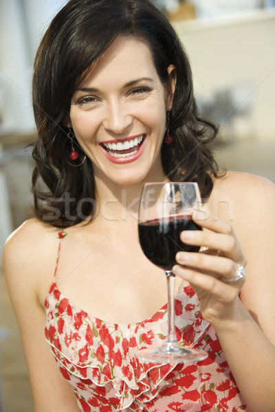 Woman Drinking Red Wine Stock photo © iofoto
