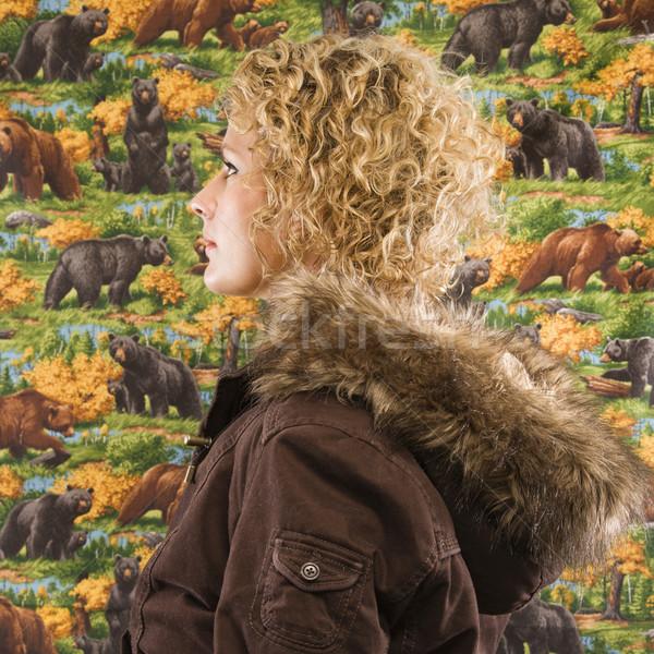 Foto stock: Mulher · inverno · casaco · perfil · caucasiano