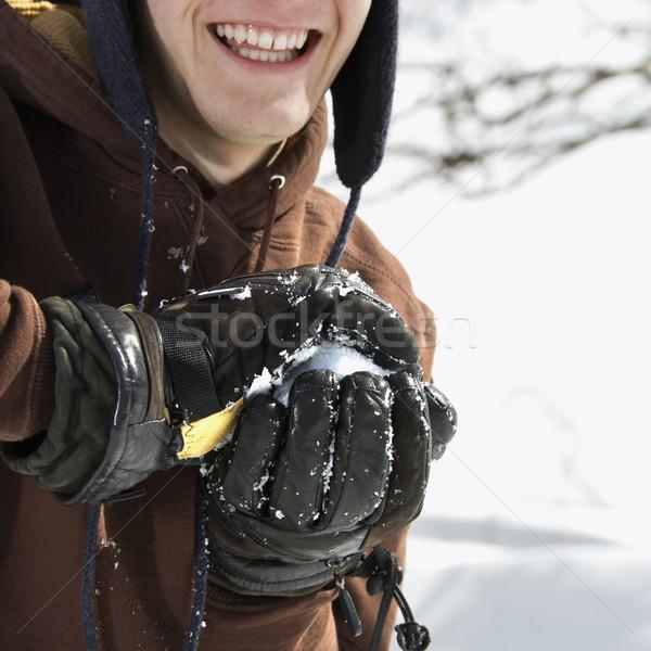 Adolescente palla di neve maschio inverno Foto d'archivio © iofoto
