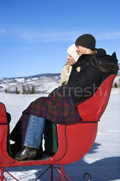 Trenó vista lateral feliz jovem caucasiano casal Foto stock © iofoto