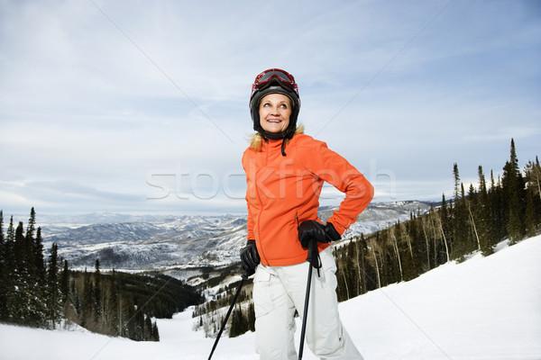 Female Skier on Ski Slope Stock photo © iofoto