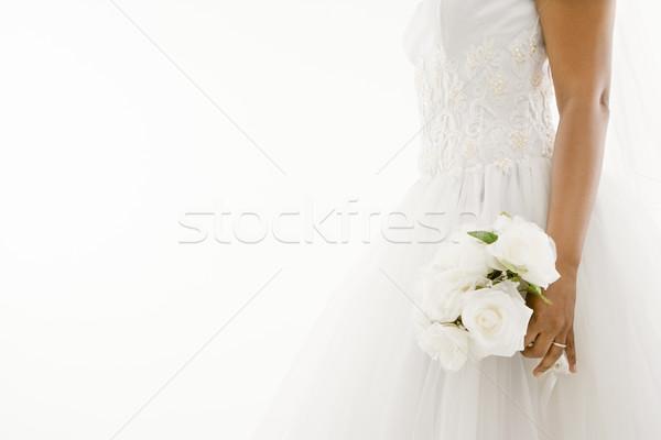 Stock fotó: Menyasszony · tart · virágcsokor · nő · nők · házasság