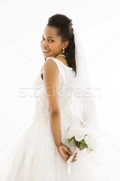 Stock fotó: Menyasszony · tart · virágcsokor · portré · nő · nők
