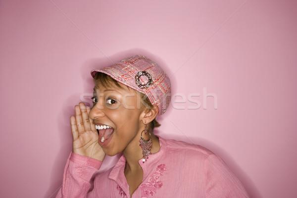 Woman yelling and smiling. Stock photo © iofoto