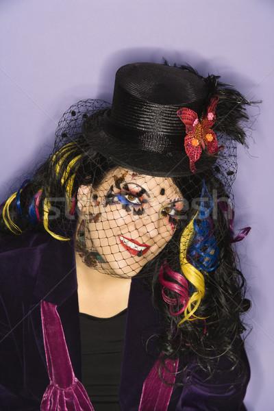 Vrouw uniek kostuum portret kaukasisch make Stockfoto © iofoto