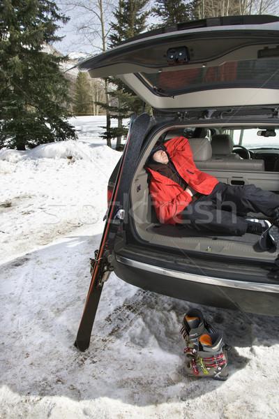 Adolescente dormire auto indietro suv Foto d'archivio © iofoto