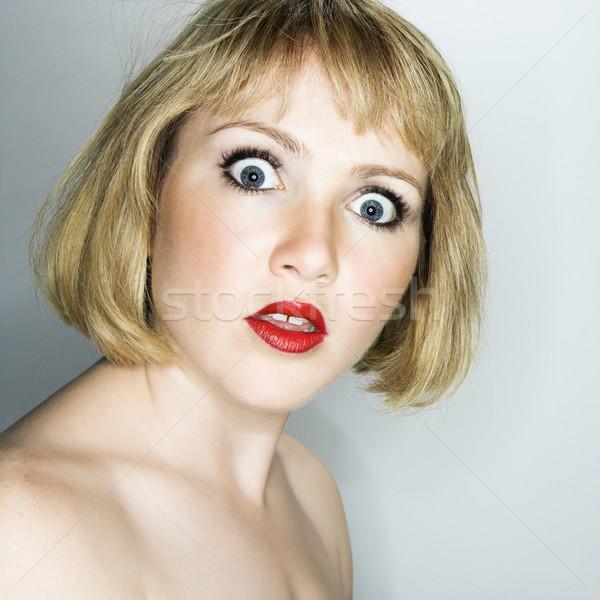 Vrouw naar verward portret jonge blond Stockfoto © iofoto