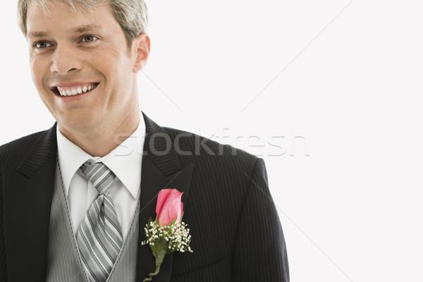Bruidegom smoking portret kaukasisch mannelijke huwelijk Stockfoto © iofoto