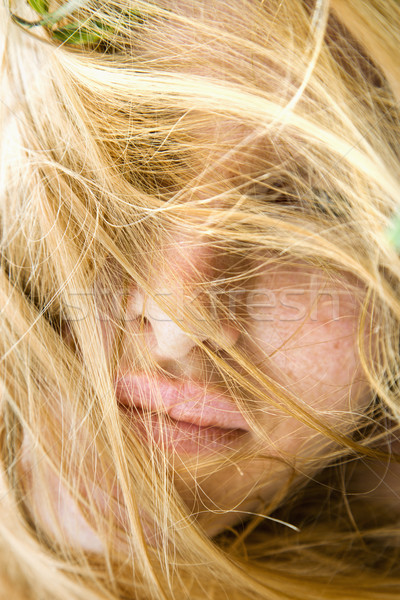 Face covered in hair. Stock photo © iofoto