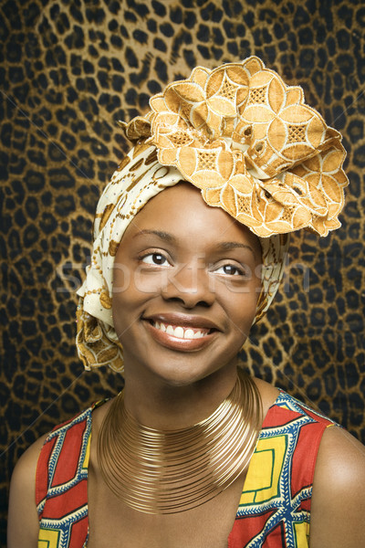 Foto stock: Sorridente · jovem · africano · americano · mulher · tradicional · africano