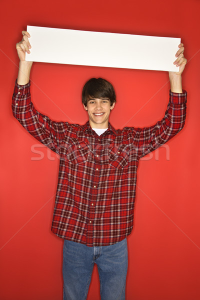 Boy holding blank sign. Stock photo © iofoto