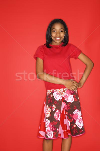 肖像 笑みを浮かべて 少女 十代の少女 手 ヒップ ストックフォト © iofoto