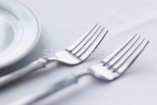 Eettafel twee vergadering witte tafelkleed horizontaal Stockfoto © iofoto