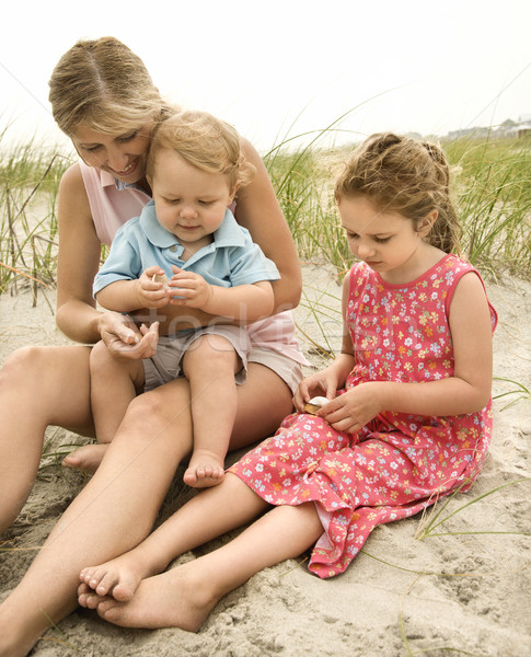 Mother and children looking at shells. Stock photo © iofoto