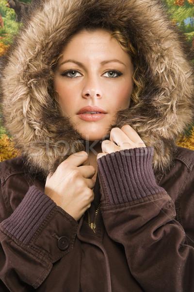 Foto stock: Mulher · casaco · caucasiano