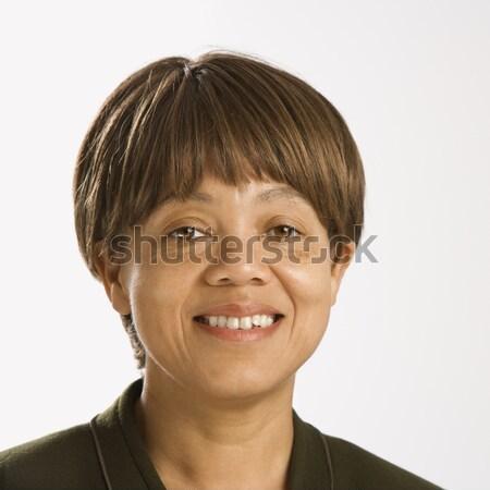 Portret portret kobiety uśmiechnięta kobieta patrząc Zdjęcia stock © iofoto