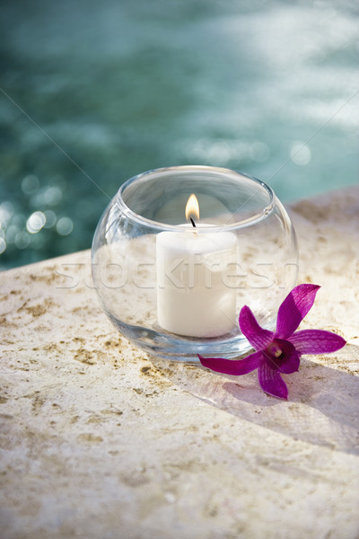 Candle and orchid. Stock photo © iofoto