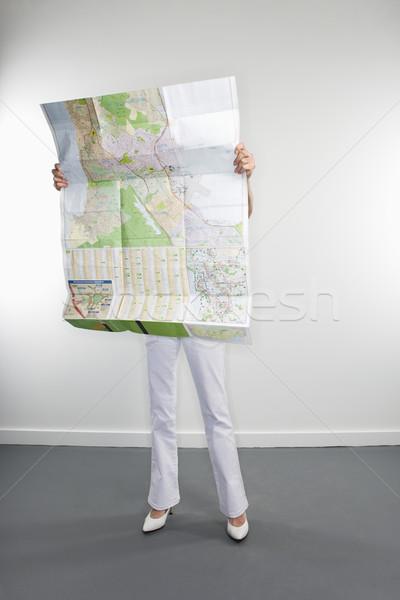 женщину чтение карта портрет кавказский Сток-фото © iofoto
