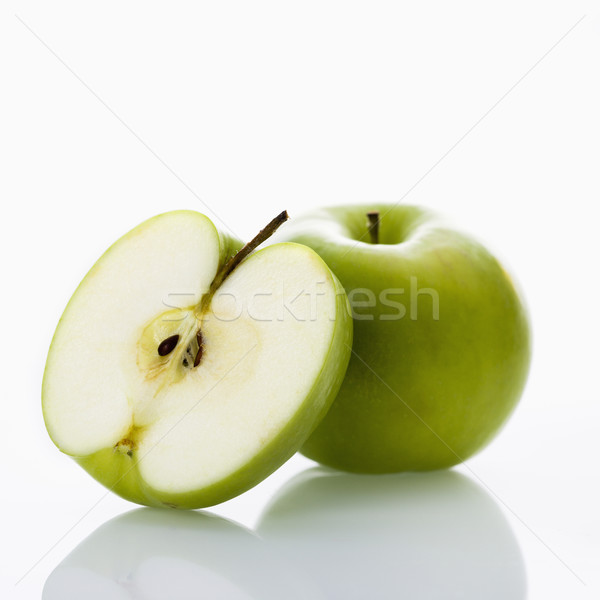 Stockfoto: Appels · witte · stilleven · groene · vruchten · kleur