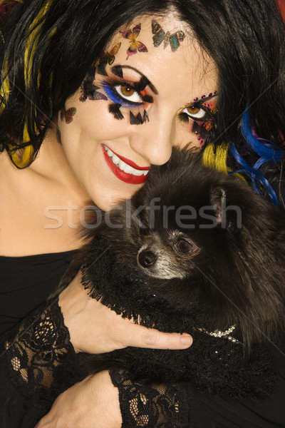 Vrouw hond glimlachend kaukasisch uniek Stockfoto © iofoto