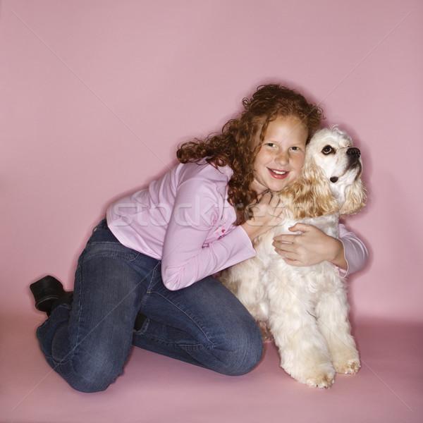Lány ölel kutya kaukázusi női gyermek Stock fotó © iofoto