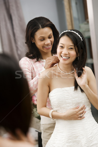 Friend helping bride. Stock photo © iofoto