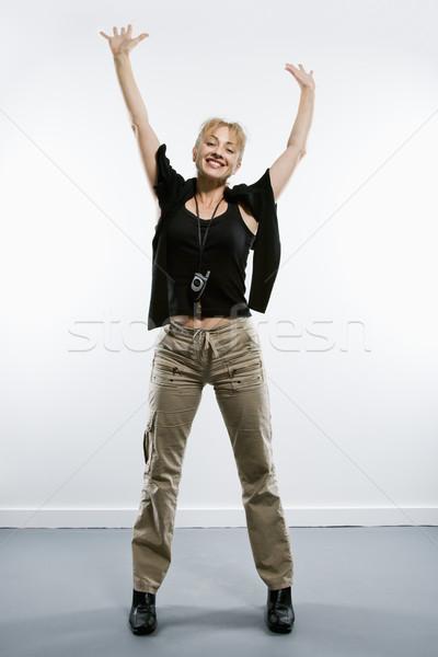 Lelkes nő kaukázusi áll kezek fölött Stock fotó © iofoto