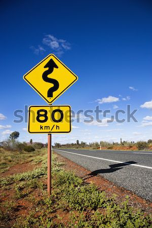 Speed limit curve ahead sign Stock photo © iofoto