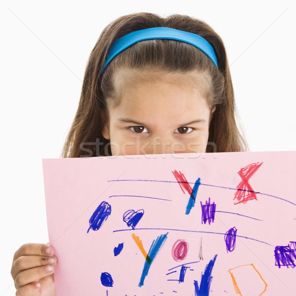 Spanyol lány tart rajz fiatal lány száj Stock fotó © iofoto