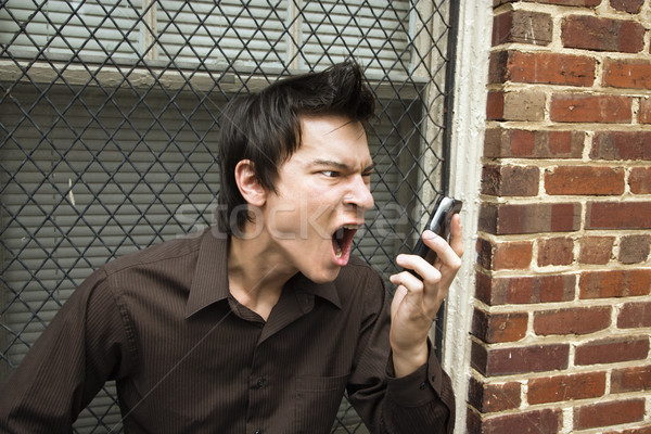Man screaming at cell phone. Stock photo © iofoto