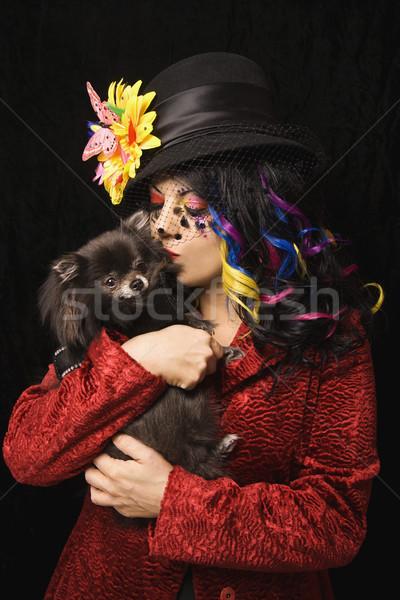 Vrouw hond kaukasisch uniek make kleding Stockfoto © iofoto
