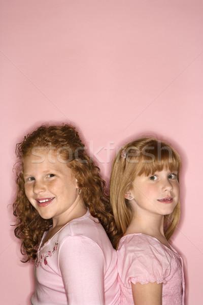 Lányok áll hát kaukázusi női gyerekek Stock fotó © iofoto
