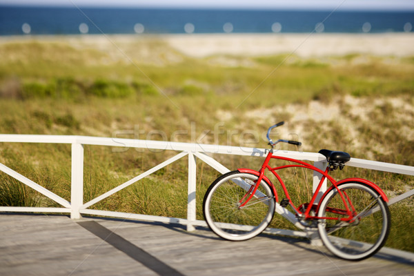 Stock photo: Red beach cruiser bicycle.